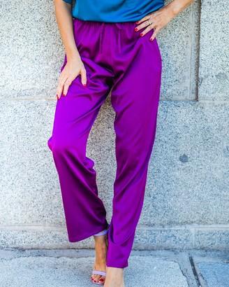 The Drop Women's Dark Violet Satin Pull-on Pant by @balamoda 2X
