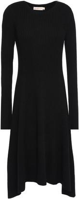 Tory Burch Asymmetric Melange Ribbed Merino Wool Dress
