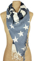 Saachi Ivory Navy Flaggy Wool Scarf