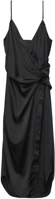 Alexander Wang Draped Silk Satin Midi Dress