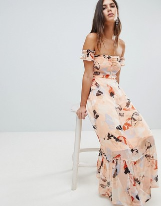 Y.A.S Brush Print Bardot Midi Dress With Ruffle Hem