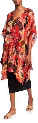 Masai Helda Sunset Print Short-Sleeve Oversized Georgette Tunic