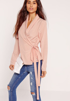 Missguided Long Sleeve Wrap Tie Side Blouse Pink