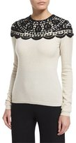 Naeem Khan Embellished-Yoke Cashmere Sweater, Ivory/Black