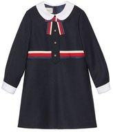 Gucci Long-Sleeve Sylvie Web Trim Dress, Size 4-12