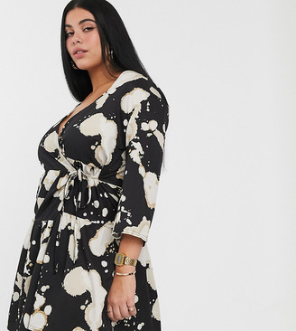 Another Reason Plus tiered wrap dres in bleached print