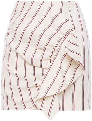 BA&SH Fluky Ruffled Striped Twill Mini Skirt