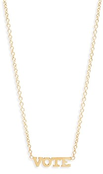 Zoë Chicco 14K Yellow Gold Itty Bitty Words Vote Pendant Necklace, 16