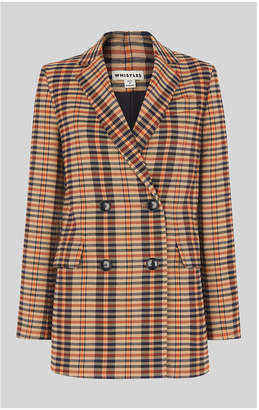 Whistles Check Double Breasted Blazer