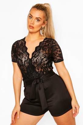 boohoo Plus Lace Wrap Short Sleeve Bodysuit