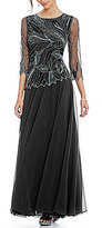 J Kara Petite Bateau Neck 3/4 Sleeve Beaded Mock 2-Piece Gown