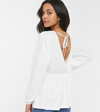 Asos DESIGN Tall smock with blouson long sleeve and tie back
