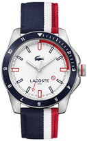 Lacoste Men's Durban Red And White Stripes Nylon Strap Watch