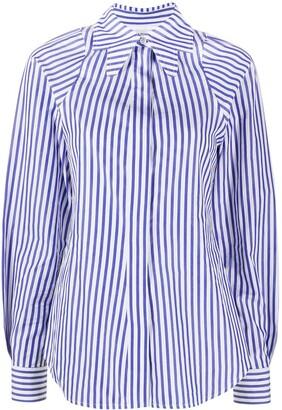 Victoria Beckham Cut-Out Collar Striped Shirt