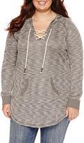 Arizona Long-Sleeve Lace-Up Sweatshirt - Juniors Plus