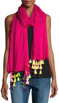 Neiman Marcus Multicolor-Tassel Scarf, Pink