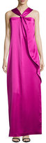 Halston Knotted-Front Ruffle Gown, Bright Magenta