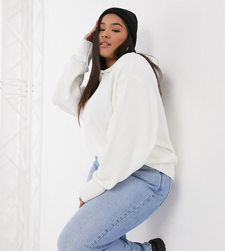 Glamorous Curve oversized polo style jumper with button collar in cream