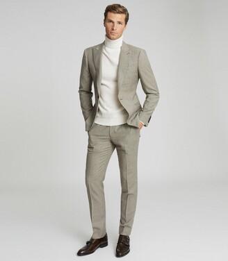 Reiss Oak - Slim Fit Checked Blazer in Brown