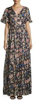 BA&SH Jessy Floral-Print Maxi Dress, Black