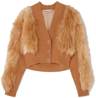 Stella McCartney Faux Fur And Ribbed-knit Cardigan
