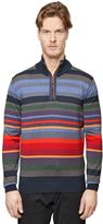 Paul & Shark Shark Fit Striped Half Zip Wool Sweater