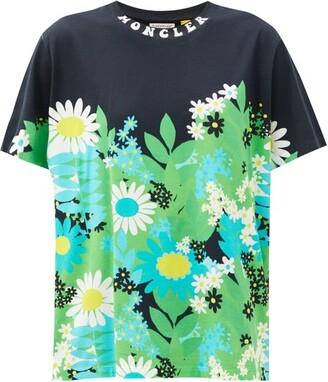 0 Moncler Genius Richard Quinn - Floral-print Cotton-jersey T-shirt - Green Multi