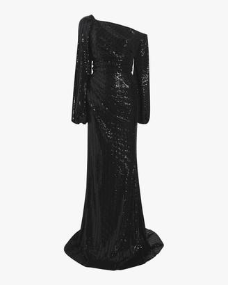 Badgley Mischka Asymmetrical Sleeve Gown
