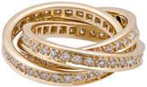 Cartier Trinity de Classic 18k Pave Diamond Triple-Band Ring, Size 5