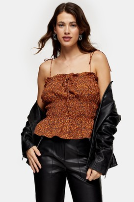 Topshop Womens Orange Animal Print Casual Cami - Orange