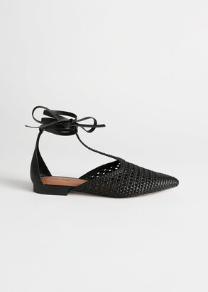 And other stories Pointed Woven Leather Lace Up Flats