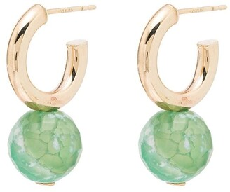 Loren Stewart 10kt Gold Agate Hoop Earrings