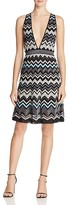 M Missoni Metallic Zigzag V-Neck Dress