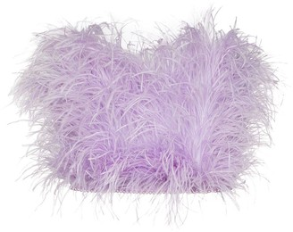 The Attico Ostrich Feather Bandeau Top