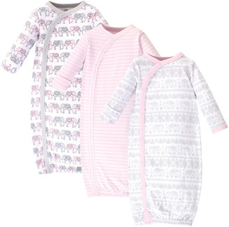 Touched by Nature Girls' Infant Gowns Pink/Gray - Pink & Gray Elephant Organic Cotton Gown Set - Newborn