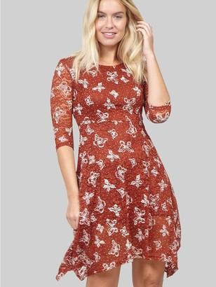 M&Co Izabel butterfly print lace tea dress