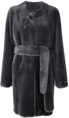 Vera Wang Faux Fur Belted Coat