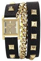 Vince Camuto Women's Quartz Watch with Gold Dial Analogue Display and Black Leather Strap VC/5088GMBK