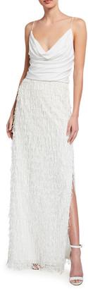 Aidan Mattox Cowl-Neck Sequined Fringe Column Gown