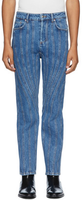 Thierry Mugler SSENSE Exclusive Blue Low Spiral Jeans