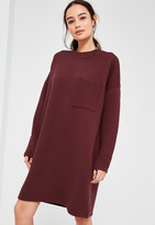Missguided Burgundy Ribbed Pocket Sweater Dress