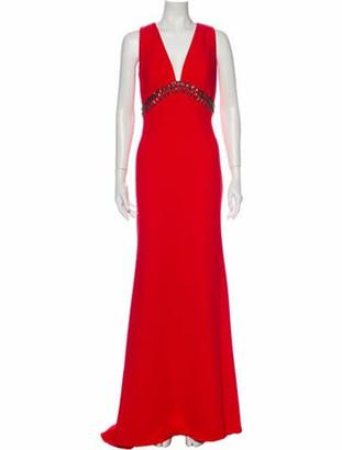Carmen Marc Valvo V-Neck Long Dress Red