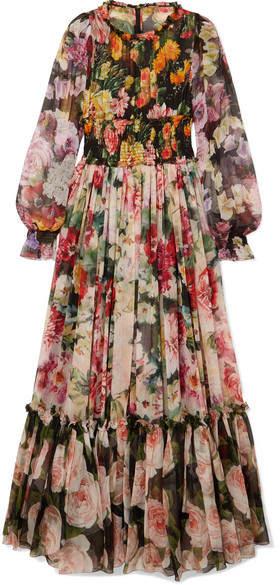 Dolce & Gabbana Floral-print Silk-chiffon Gown - Black