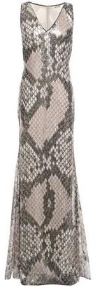 Roberto Cavalli Sequined Metallic Snake-print Tulle Gown