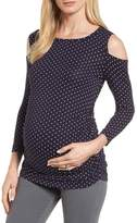 Isabella Oliver Women's Jennifer Dot Cold Shoulder Maternity Top