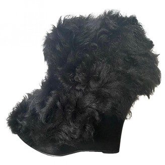 Opening Ceremony Black Shearling Ankle boots
