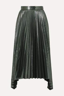 Altuzarra Freya Asymmetric Pleated Lamé Midi Skirt - Dark gray