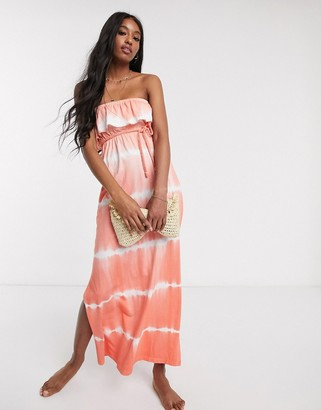 Influence bandeau beach maxi dress with rope tie waist in tie dye