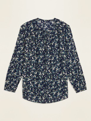Old Navy Oversized Floral-Print Button-Front Blouse for Women