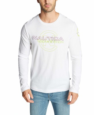 Nautica Men's Long Sleeve 100% Cotton Competition Logo Jersey T-Shirt